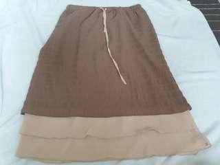 2tone chiffon skirt wd lining