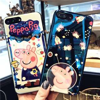 3D Peppa Pig Blue Light Ray Phone Case For iPhone