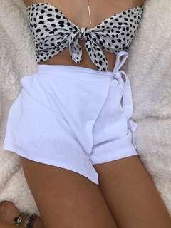 White shorts - cross over skort