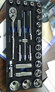"""🚚 航太~超跑級保修用手工具~美國名牌Blue-Point (BPS12A) 1/2""""快拆雙向棘輪扳手26件組(snap-on實耐寶集團產品~米其林輪胎集團指定使用)"""
