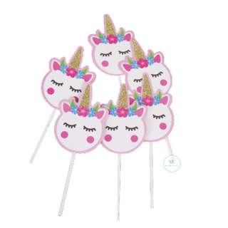 Unicorn Head cupcake topper / Birthday / Baby Shower / theme