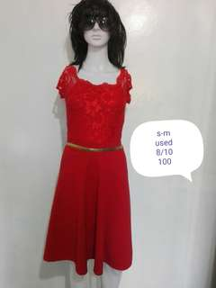 Red lace top dress
