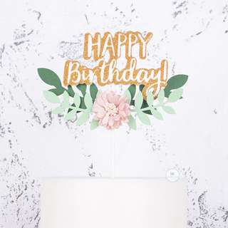Happy Birthday Floral Flower Laurel Wreath Cake topper Party