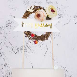 Happy Birthday Rustic Cake topper Party