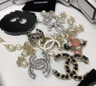 Chanel earrings and brooch