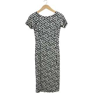 Zara Black And White Back Cut Out Paterned Midi Dress