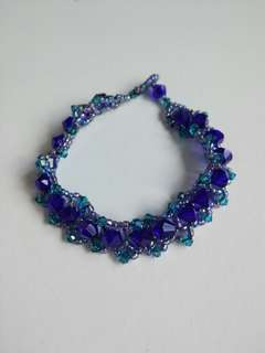 深藍綠松石孔雀綠水晶手鍊Dark blue turquoise green crystal bracelet