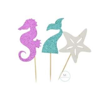 Mermaid cupcake topper set / Birthday Party / Baby Shower