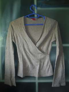 Brown plain fleece v-neck long sleeves crop  top