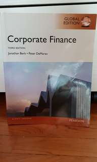 Corporate Finance: Global Edition. Berk, J. & DeMarco, P. (2014). Pearson Education