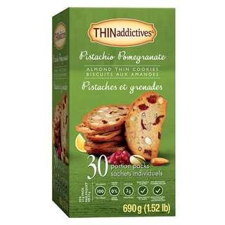新口味: THINAddictives Pistachio POMEGRANATE Almond Thins Biscuits 開心果石榴杏仁薄脆餅   (每盒30包)