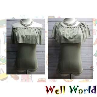 #2244 純色淨色橡筋膊一字膊短袖貼身T恤上衣(韓國製造)