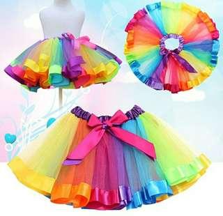 Rok tutu rainbow untuk usia 4-7t