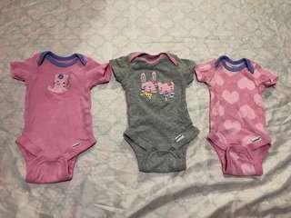 Gerber Newborn Onesies for baby girls (bundle)