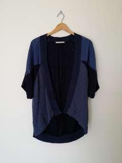 Zara Navy Blue Batwing Top