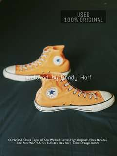 CONVERSE Chuck Taylor All Star Washed Canvas High Unisex 142224C ORIGINAL Shoes Sepatu Orange Bronze
