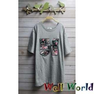 #2256 花圖案仿皮字母珍珠銀石短袖T恤上衣(韓國製造)