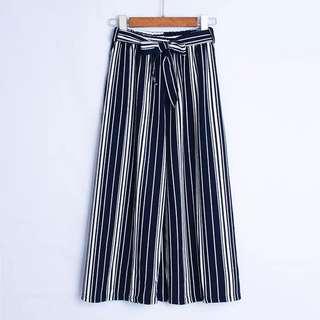 Ribbon Navy Blue Stripes Cullotes