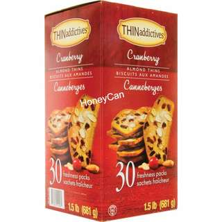 THINaddictives Cranberry Almond Thins Biscuits 蔓越莓杏仁餅乾   (每盒30包)