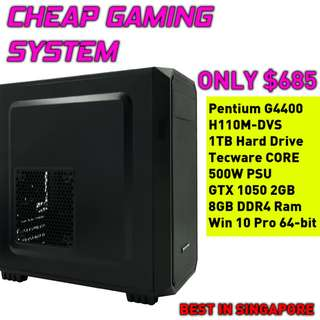 SUPER CHEAP CUSTOM GAMING DESKTOP (GTX 1050 2GB, WINDOWS 10, 1TB HDD, PENTIUM G4400)