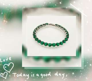 全新品 18K 鍍白金屬鑲嵌 Emerald color / 祖母綠色奧地利水晶手鍊一條 QB-12