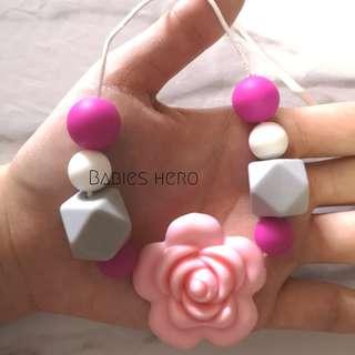 (Set of 2) Handmade silicon nursing necklace & pacifier clip