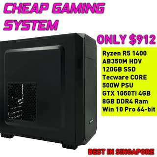 CHEAP CUSTOM GAMING DESKTOP (GTX 1050Ti 4GB, WINDOWS 10, 120GB SSD, R5 1400, 8GB RAM)