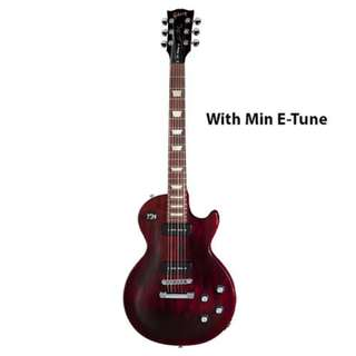 Gibson Les Paul 50s Tribute Electric Guitar, Wine Red Vintage Gloss w/P90s, Min E-Tune