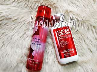 Bath and Body Works Japanese Cherry Blossom Mist and Lotion Set - AUTHENTIC