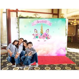Customize Custom customised Personalised Personalized Pastel Unicorn Clouds Banner Backdrops Party