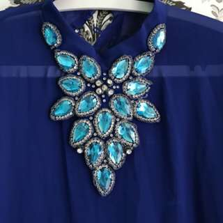 Kaftan biru elektrik like new