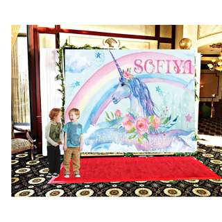Customize Custom customised Personalised Personalized Unicorn Magical Party banners backdrops