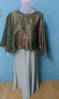 Set gamis & outer songket batik