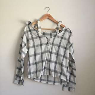 Checkered Off Shoulder Flannel Button Up Top