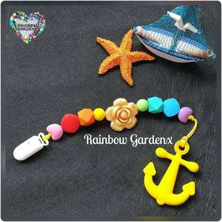 Handmade Silicone beads Pacifier Clip + Anchor teether combo