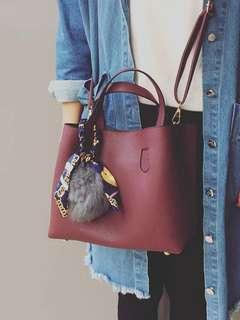 2 in 1 korean fashion handbag with furry keychain and twilly