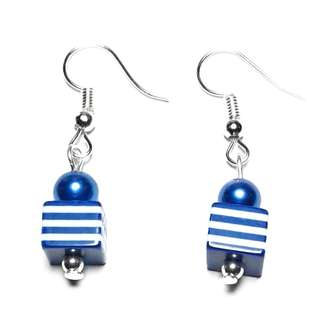 Handmade Korean Style Navy Blue White Line Cube Resin Bead Dropping Earring