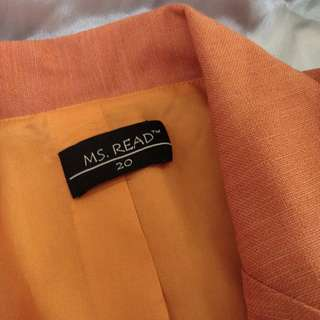 Ms Read Orange Plus Size Blazer