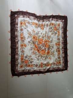 Square turkish scarf with hand embroidery