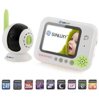 SUNLUXY 3.5 inch Color LCD Wireless Digital Audio Video Baby Monitor Security Camera Two Way Talk with Night Vision and Lullabies  -- 782