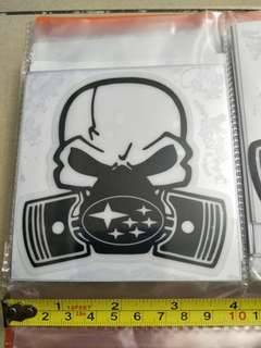 Subaru skull glass decals