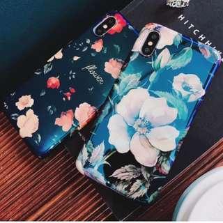 手機殼IPhone6/7/8/plus/X : 復古玫瑰花藍光全包黑邊軟殼