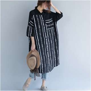 Plus Size Summer Women's Cotton Cardigan Shirt Casual Dress Rashwear