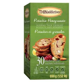 新口味: Pistachio POMEGRANATE Almond Thins Biscuits 開心果石榴杏仁薄脆餅   (每盒30包)