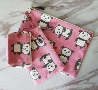 Panda cotton zipper pouch (3pcs)