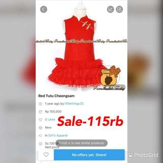Sale -Cheongsam red rufflr