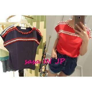 🚚 【全新】日本品牌 Lily Brown 紅色毛毛球,造型棉球衣