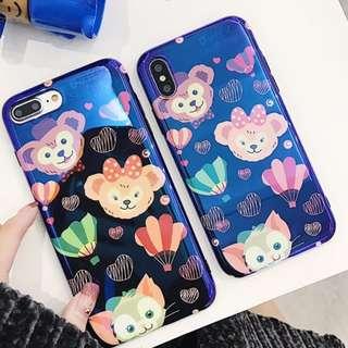 手機殼IPhone6/7/8/plus/X : Duffy/StellaLou(達菲熊)藍光全包黑邊軟殼