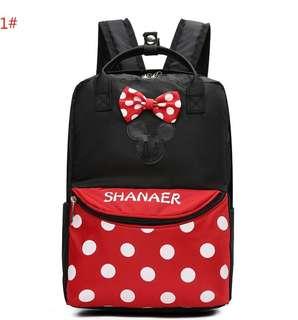 Kids Preschool Backpack Mini Backpack Minnie Mouse Red Polkadot Bow School Bag