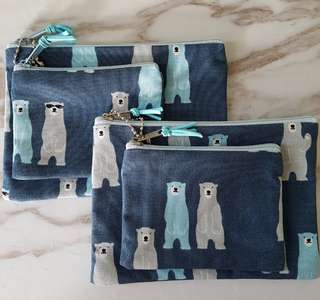 Polar bear cotton zipper pouch (2pcs)